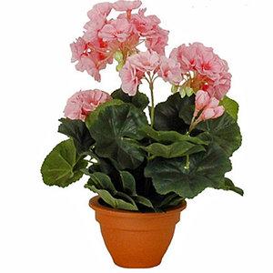Kunstplant Geranium Roze - H 32cm - Terracotta sierpot - Mica Decorations