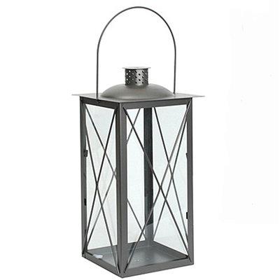 Lantaarn Zaragoza - Antraciet grijs metaal - H 41cm - Mica Decorations