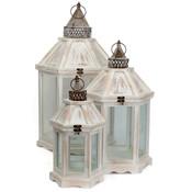Houten set lantaarns 'Camondo' rond