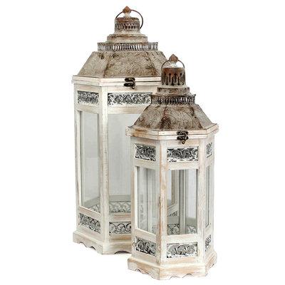 Houten set lantaarns 'Camondo' rond hoog