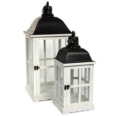 Houten set lantaarns 'Luzern', wit