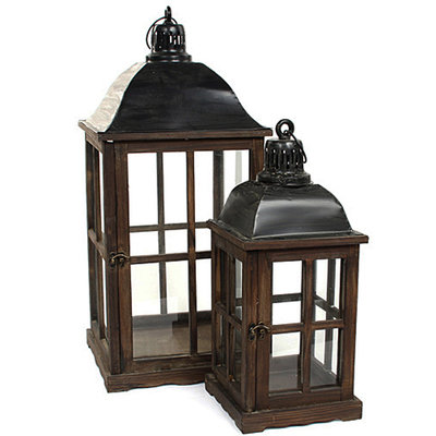Houten set lantaarns 'Luzern', bruin