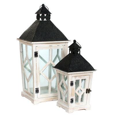 Houten set lantaarns 'Nosta', wit