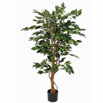 Künstliche Pflanze Ficus Benjamina Grün - H 150cm - Plastiktopf - Mica Decorations