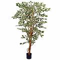 Kunstplant Ficus Hawaii Groen-bont - H 180cm - Kunststof pot - Mica Decorations
