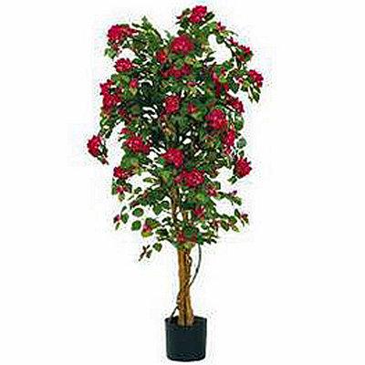 Kunstplant Bougainvillea Donkerroze - H 150cm - Kunststof pot - Mica Decorations