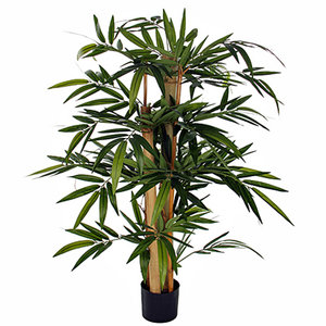 Kunstplant Bamboe Groen - H 100cm - Kunststof pot - Mica Decorations
