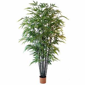 Kunstplant Bamboe Groen - H 210cm - Kunststof pot - Mica Decorations