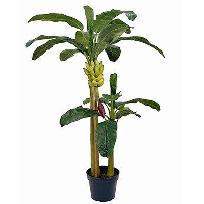 Kunstplant Bananenboom Groen - H 180cm - Kunststof pot - Mica Decorations