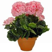 Kunstplant Geranium Roze - H 38cm - Keramiek sierpot - Mica Decorations