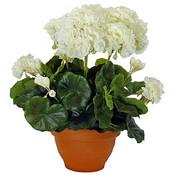 Kunstplant Geranium Crèmewit - H 38cm - Keramiek sierpot - Mica Decorations