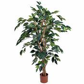 Kunstplant Ficus Benjamina Groen - H 110cm - Kunststof pot - Mica Decorations