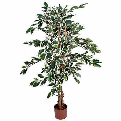 Kunstplant Ficus Hawaii Groen-bont - H 110cm - Kunststof pot - Mica Decorations