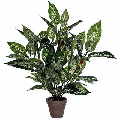 Kunstplant Dieffenbachia Groen - H 70cm - Keramiek sierpot - Mica Decorations