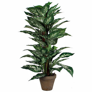 Kunstplant Dieffenbachia - H 65cm - Keramiek stenen sierpot grijs-antraciet