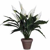 Kunstplant Spathiphyllum Wit - H 50cm - Keramiek sierpot - Mica Decorations