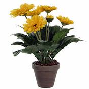 Kunstplant Gerbera Geel - H 35cm - Keramiek sierpot - Mica Decorations