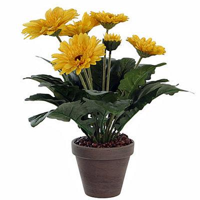 Künstliche Pflanze Gerbera Gelb - H 35cm - Keramiktopf - Mica Decorations