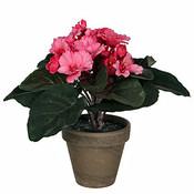 Künstliche Pflanze Saintpaulia Rosa - H 20cm - Keramiktopf - Mica Decorations