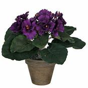 Kunstplant Kaapsviool Paars - H 20cm - Keramiek sierpot - Mica Decorations