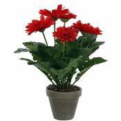Kunstplant Gerbera Rood - H 35cm - Keramiek sierpot - Mica Decorations