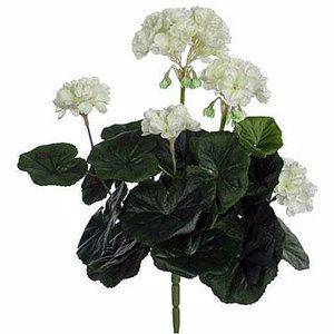 Künstliche Pflanze Geranie Weiß - Stecker H 35cm - Mica Decorations