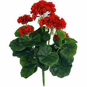 Kunstplant Geranium Rood - Steker H 35cm - Mica Decorations