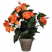 Kunstplant Hibiscus Oranje - H 40cm - Keramiek sierpot - Mica Decorations