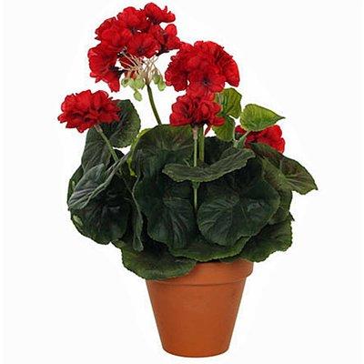 Kunstplant Geranium Rood - H 34cm - Keramiek sierpot - Mica Decorations