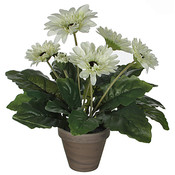 Kunstplant Gerbera Wit - H 35cm - Keramiek sierpot - Mica Decorations