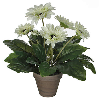 Künstliche Pflanze Gerbera Weiß - H 35cm - Keramiktopf - Mica Decorations