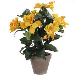 Kunstplant Hibiscus Geel - H 40cm - Keramiek stenen sierpot grijs-antraciet