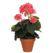 Künstliche Pflanze Geranie Lachs - H 34 cm - Keramiktopf - Mica Decorations