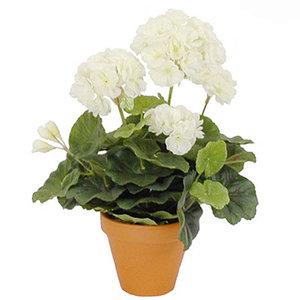 Kunstplant Geranium Wit - H 34cm - Keramiek sierpot - Mica Decorations