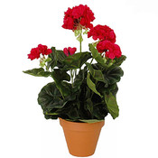 Künstliche Pflanze Geranie Dunkelrosa - H 34 cm - Keramiktopf - Mica Decorations