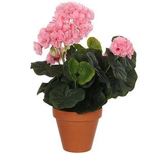 Kunstplant Geranium Roze - H 34cm - Keramiek sierpot - Mica Decorations