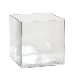 Handgemaakte glazen accubak Britt, vierkant 18cm, transparant