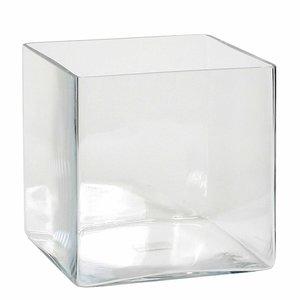 Handgemaakte glazen accubak Britt, vierkant 20cm, transparant