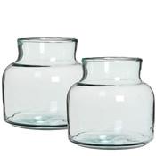 Set van 2 handgemaakte glazen vazen Vienne, transparant