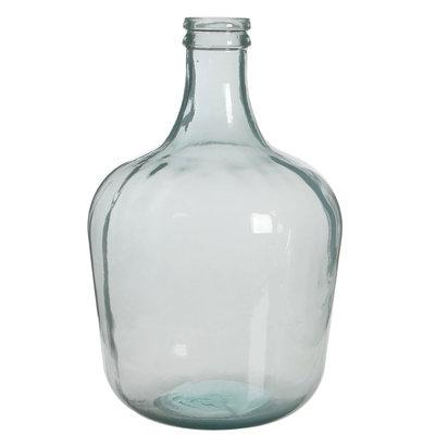 Handgemaakte glazen fles Diego, Wit milky glas, H42cm / D27cm