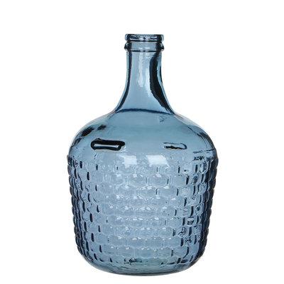 Handgemaakte glazen fles Diego Weave, Blauw glas, H30cm / D20cm