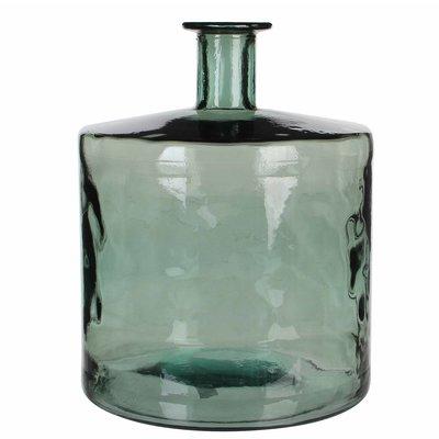 Handgemaakte glazen fles Guan, Grijs glas, H44cm / D35cm