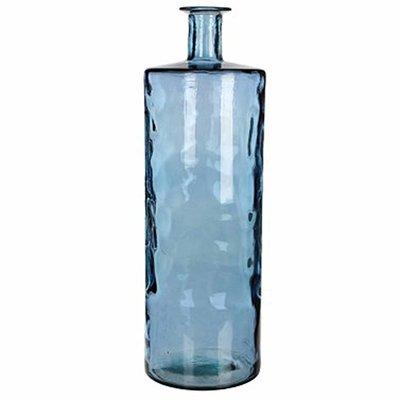 Handgemaakte glazen fles Guan, Blauw glas, H75cm / D25cm