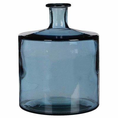 Handgemaakte glazen fles Guan, Blauw glas, H44cm / D35cm