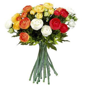 Mica Flowers - Ranonkel kunstbloemen boeket - Oranje-Rood-Wit - H 30cm