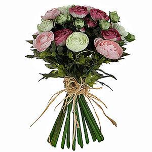 Mica Flowers - Ranonkel kunstbloemen boeket - Roze-Wit - H 30cm