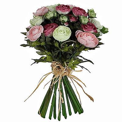 Künstliche Blumen Ranunculus-Blumenstrauß-Rosa-Weiß - H 30cm - Mica Decorations