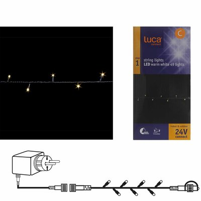 LUCA Connect 24V - Lichtsnoer met 49 warm witte LED-lampjes, inclusief trafostekker