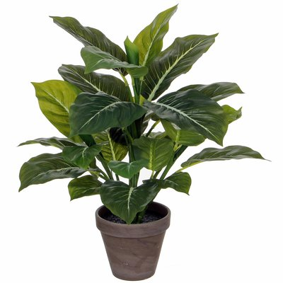 Kunstplant Evergreen Groen - H 50cm - Keramiek sierpot - Mica Decorations