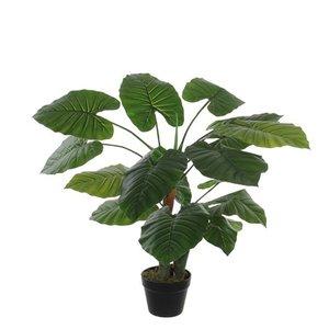 Kunstplant Taro Groen - H 90cm - Kunststof pot - Mica Decorations